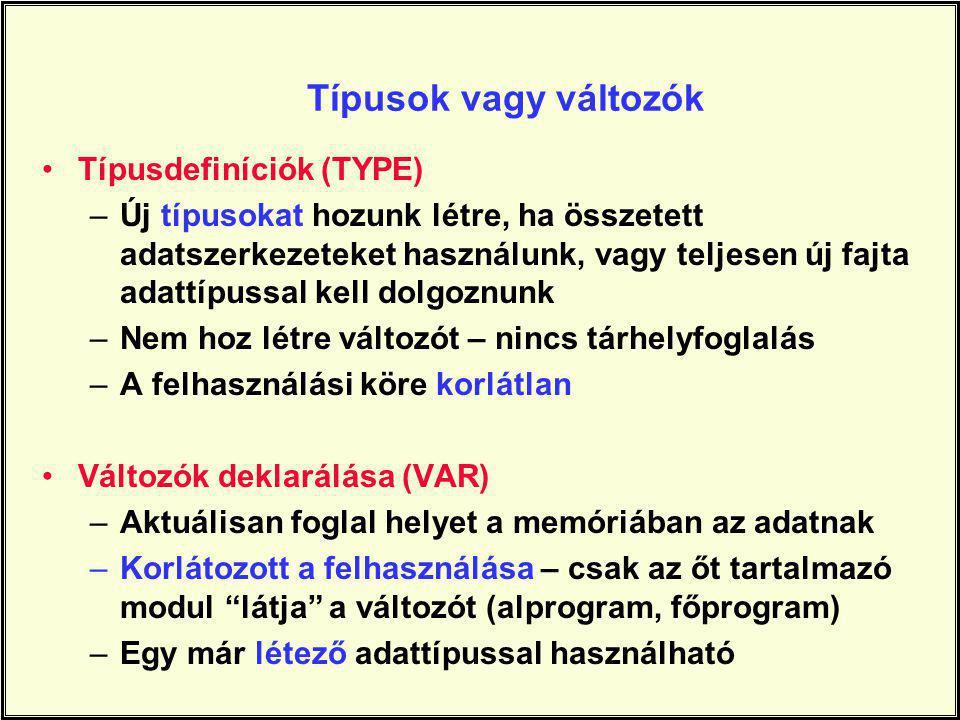 Típusok vagy változók Típusdefiníciók (TYPE)