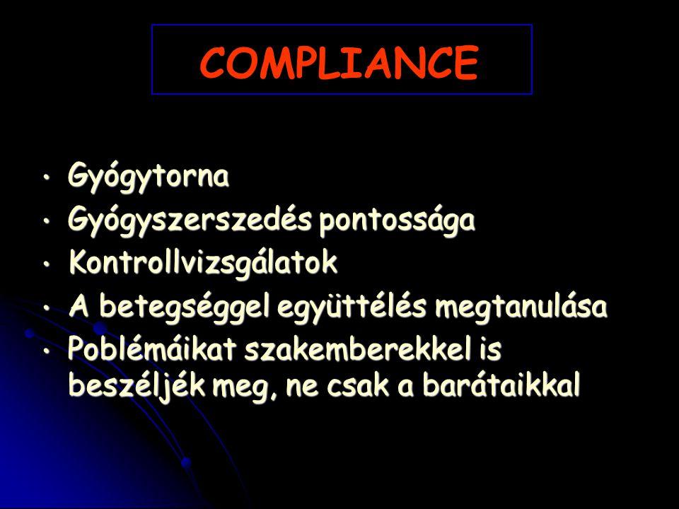 COMPLIANCE Gyógytorna Gyógyszerszedés pontossága Kontrollvizsgálatok