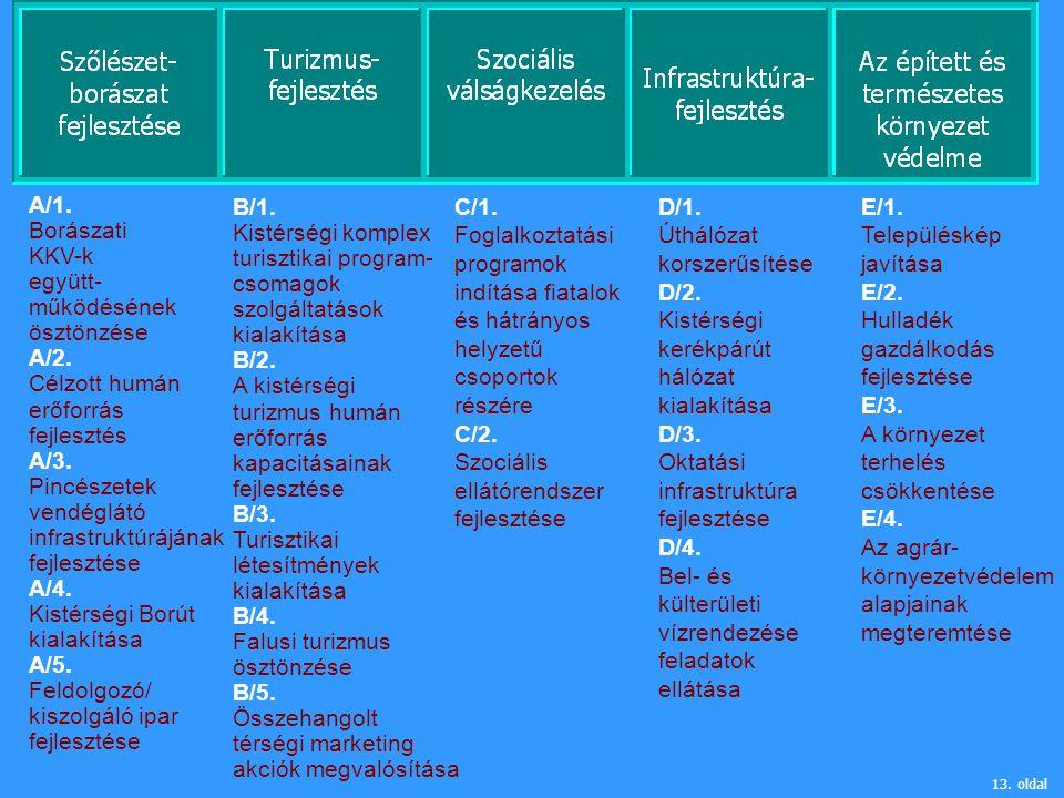 A/1. Borászati KKV-k együtt- működésének ösztönzése A/2. Célzott humán