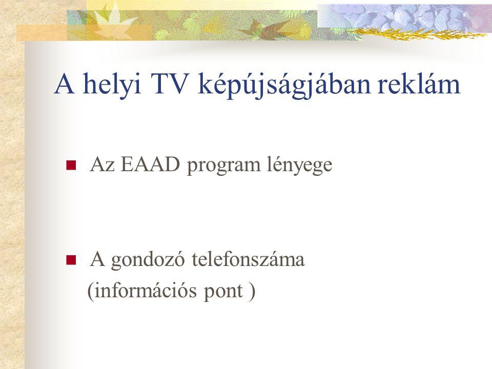A helyi TV képújságjában reklám