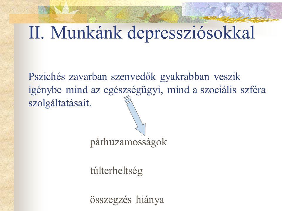 II. Munkánk depressziósokkal Pszichés zavarban szenvedők gyakrabban veszik igénybe mind az egészségügyi, mind a szociális szféra szolgáltatásait.