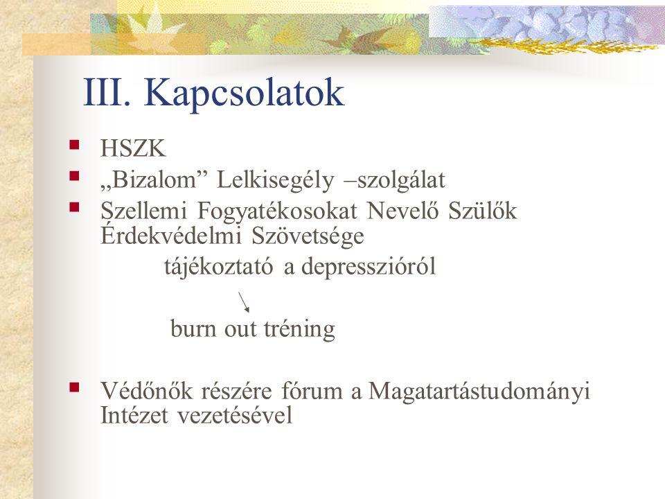 """III. Kapcsolatok HSZK """"Bizalom Lelkisegély –szolgálat"""