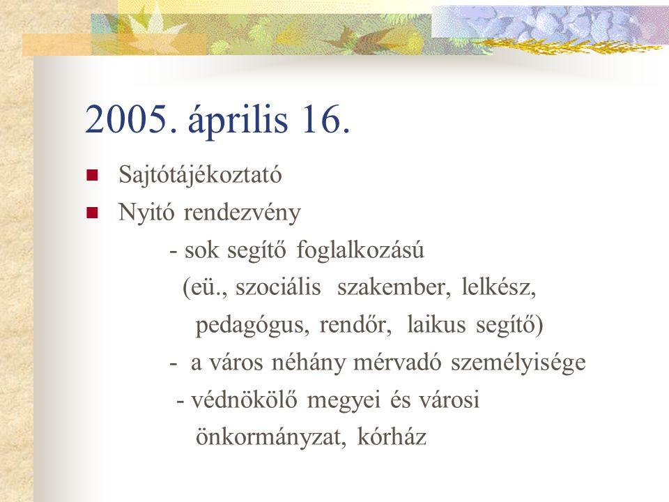 2005. április 16. Sajtótájékoztató Nyitó rendezvény
