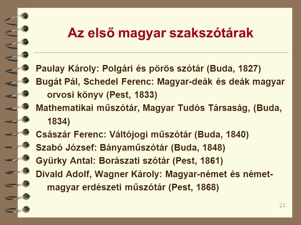 Az első magyar szakszótárak