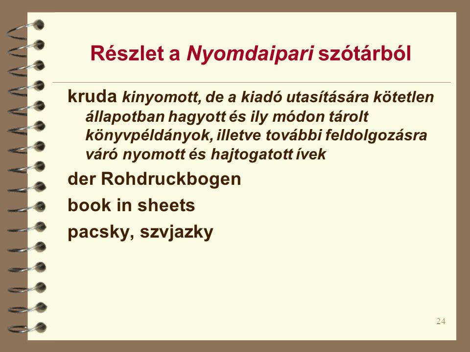 Részlet a Nyomdaipari szótárból
