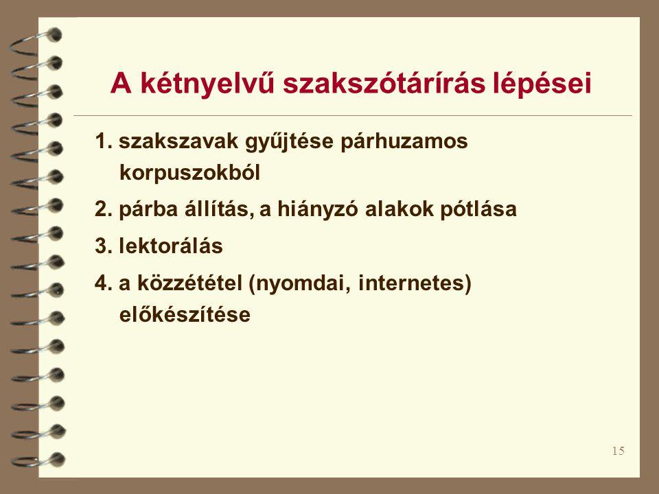 A kétnyelvű szakszótárírás lépései