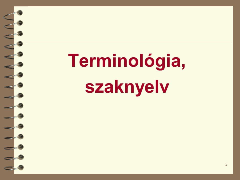 Terminológia, szaknyelv