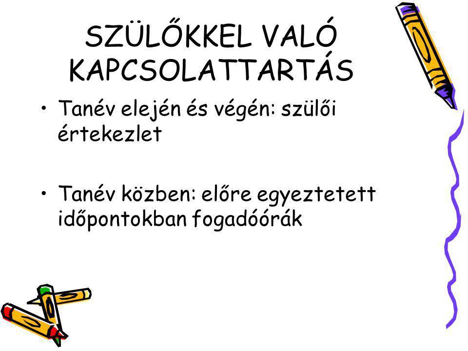 SZÜLŐKKEL VALÓ KAPCSOLATTARTÁS