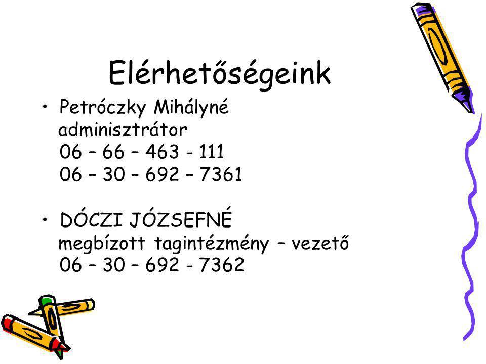 Elérhetőségeink Petróczky Mihályné adminisztrátor 06 – 66 – 463 - 111