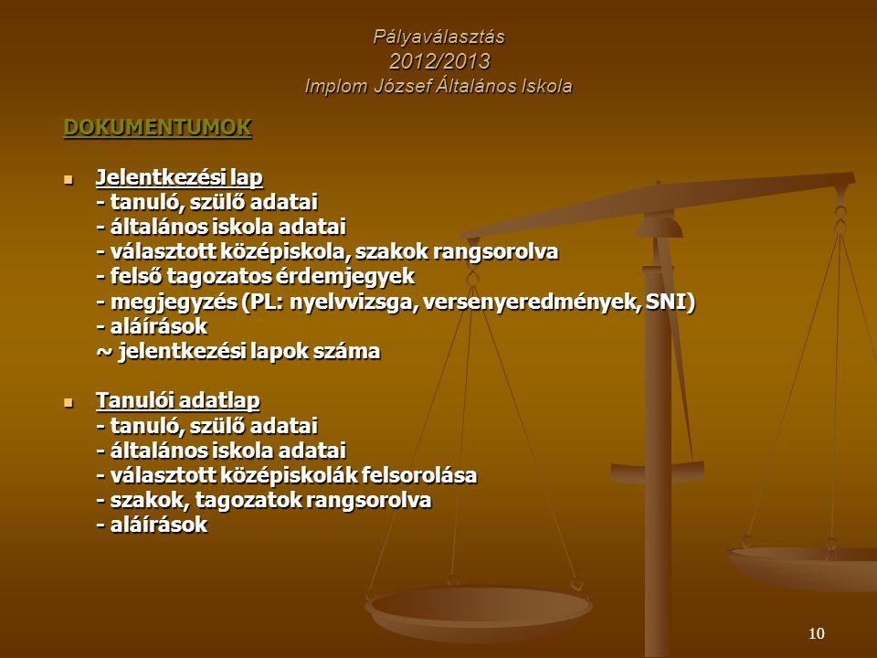 Pályaválasztás 2012/2013 Implom József Általános Iskola