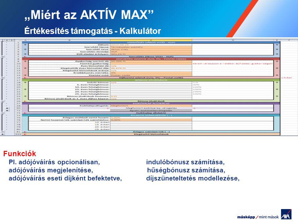 """""""Miért az AKTÍV MAX Értékesítés támogatás - Kalkulátor"""