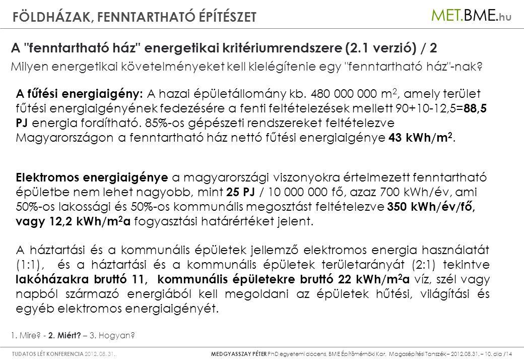 A fenntartható ház energetikai kritériumrendszere (2.1 verzió) / 2