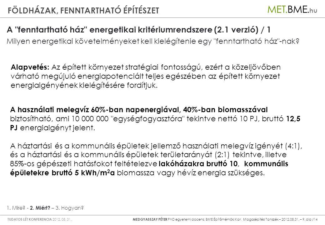 A fenntartható ház energetikai kritériumrendszere (2.1 verzió) / 1