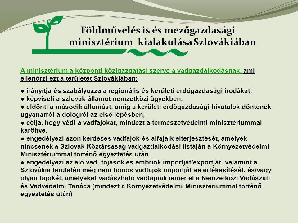 Földművelés is és mezőgazdasági minisztérium kialakulása Szlovákiában