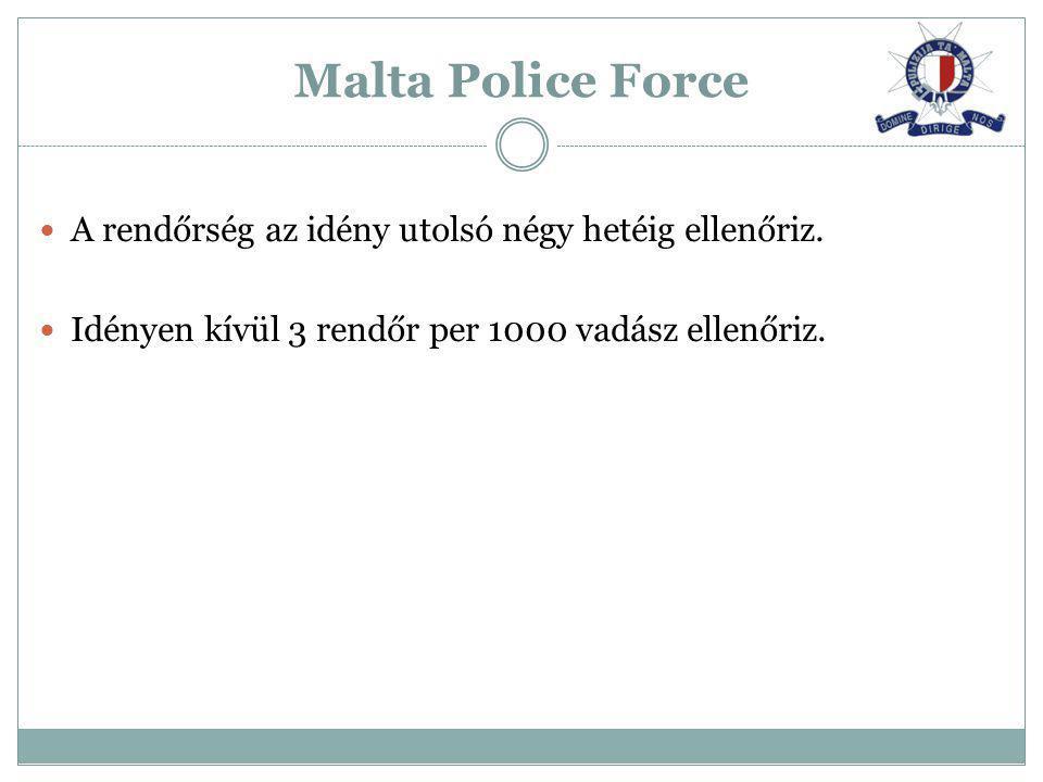 Malta Police Force A rendőrség az idény utolsó négy hetéig ellenőriz.