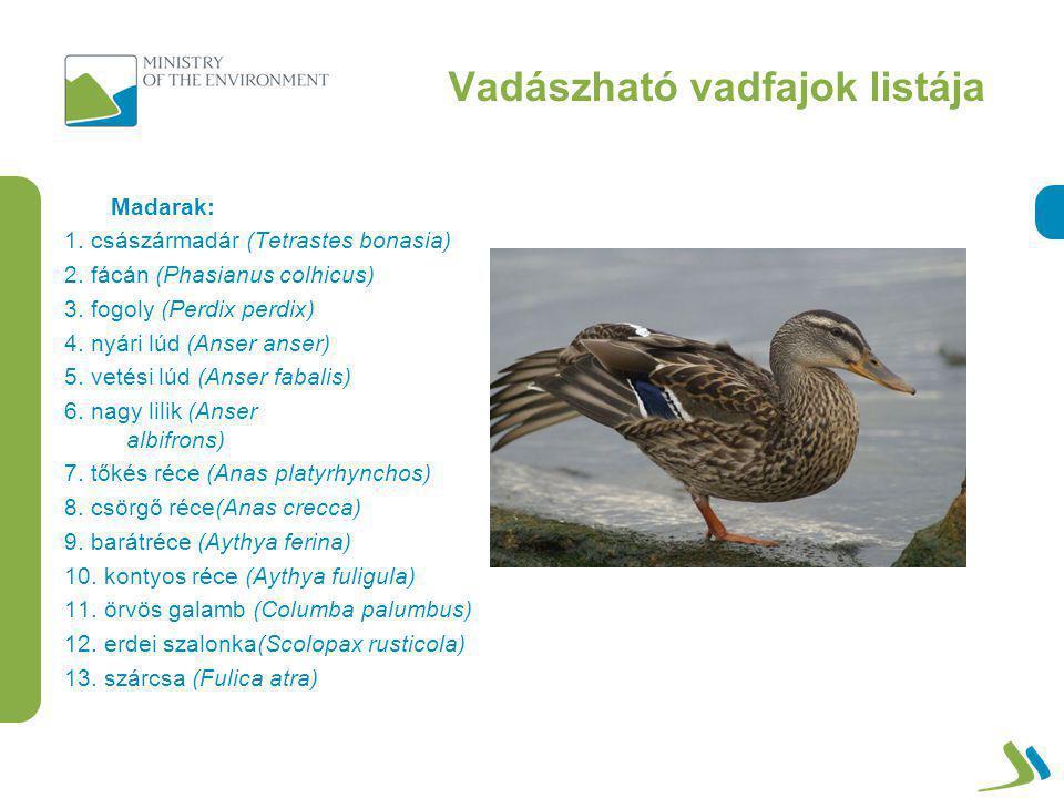 Vadászható vadfajok listája