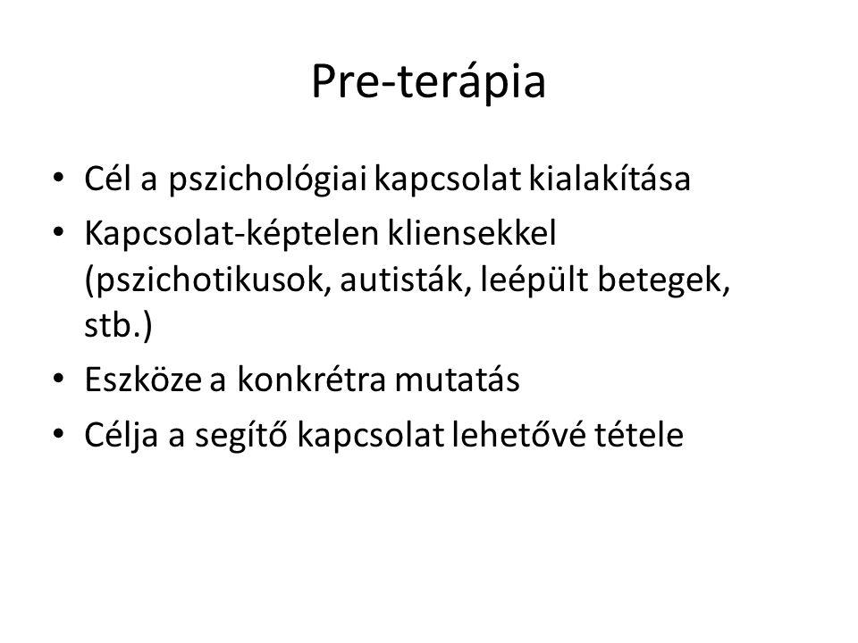 Pre-terápia Cél a pszichológiai kapcsolat kialakítása