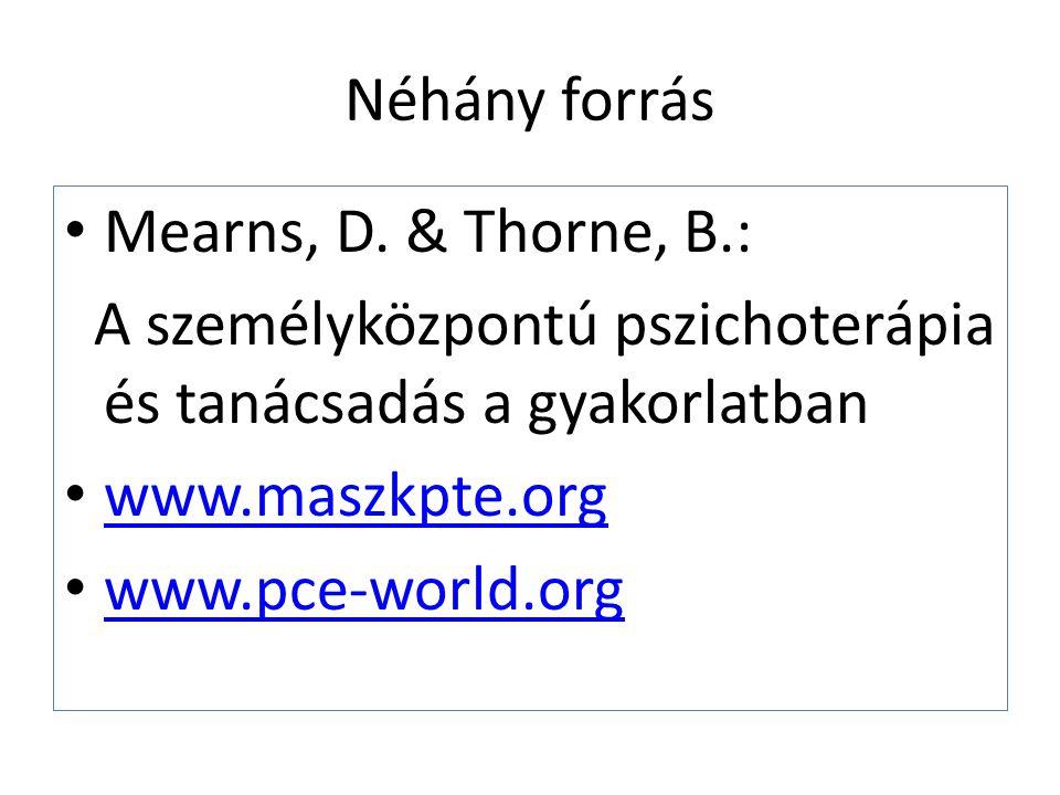 Néhány forrás Mearns, D. & Thorne, B.: A személyközpontú pszichoterápia és tanácsadás a gyakorlatban.