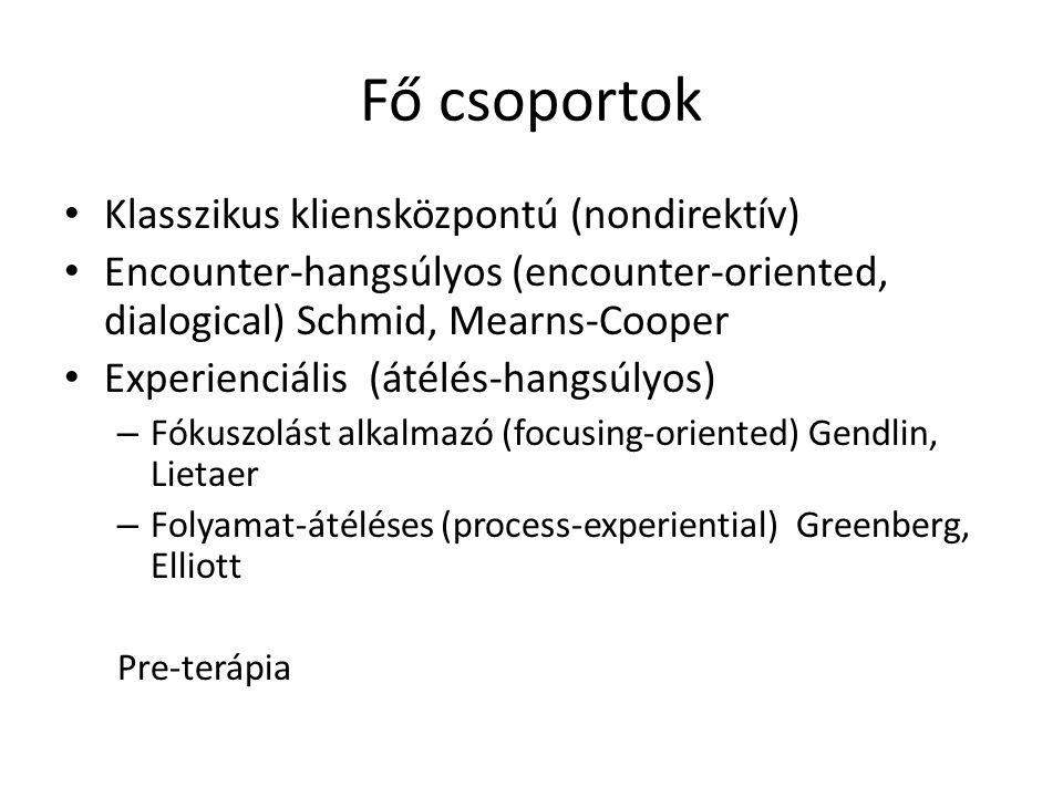 Fő csoportok Klasszikus kliensközpontú (nondirektív)