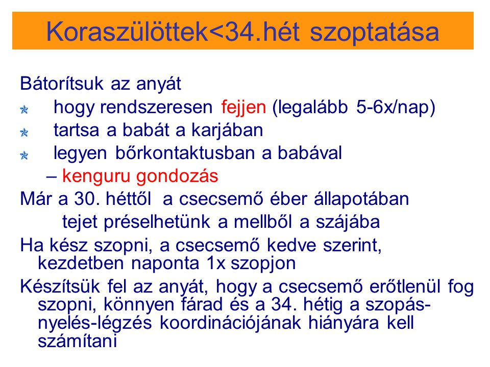 Koraszülöttek<34.hét szoptatása