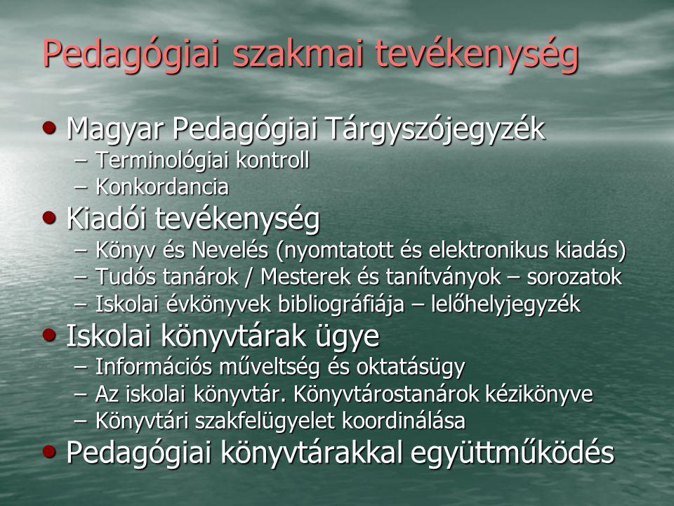 Pedagógiai szakmai tevékenység