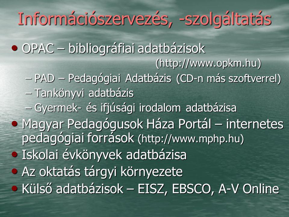 Információszervezés, -szolgáltatás