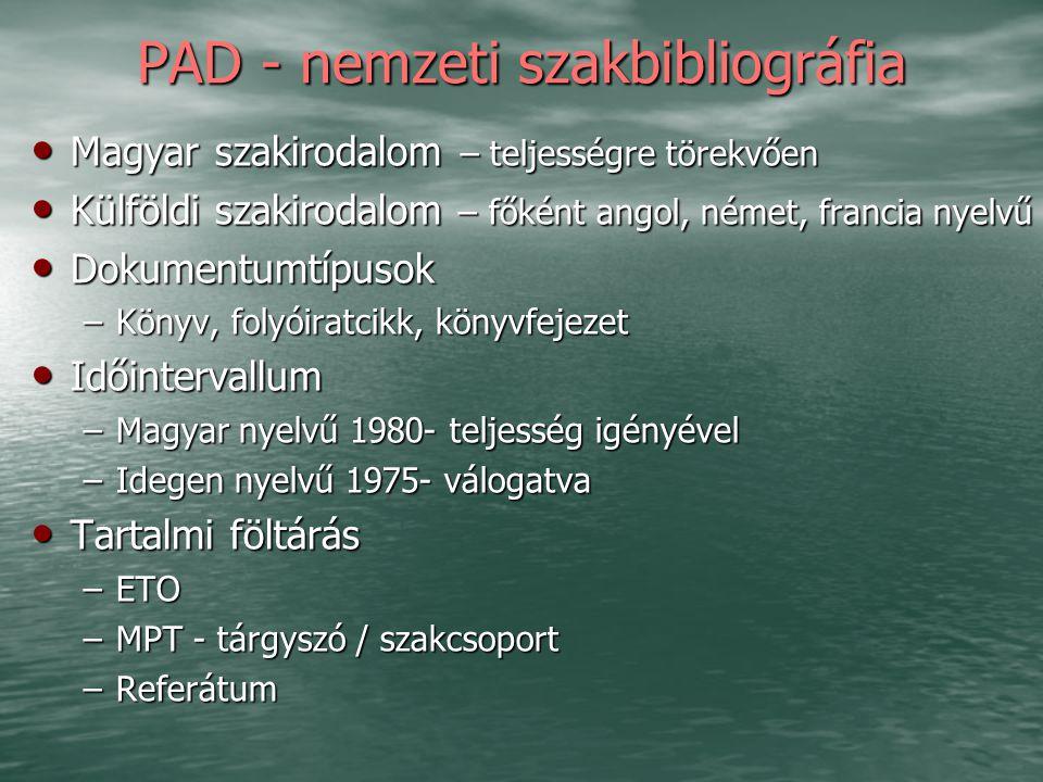 PAD - nemzeti szakbibliográfia