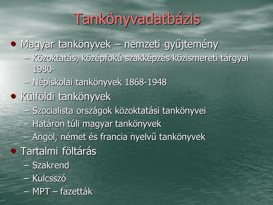 Tankönyvadatbázis Magyar tankönyvek – nemzeti gyűjtemény