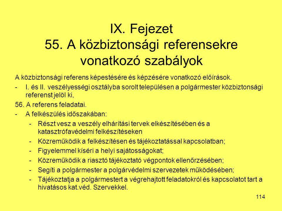IX. Fejezet 55. A közbiztonsági referensekre vonatkozó szabályok