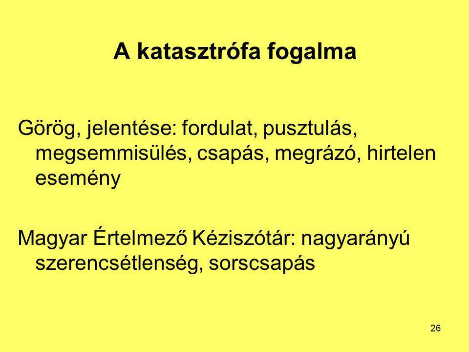 A katasztrófa fogalma Görög, jelentése: fordulat, pusztulás, megsemmisülés, csapás, megrázó, hirtelen esemény.