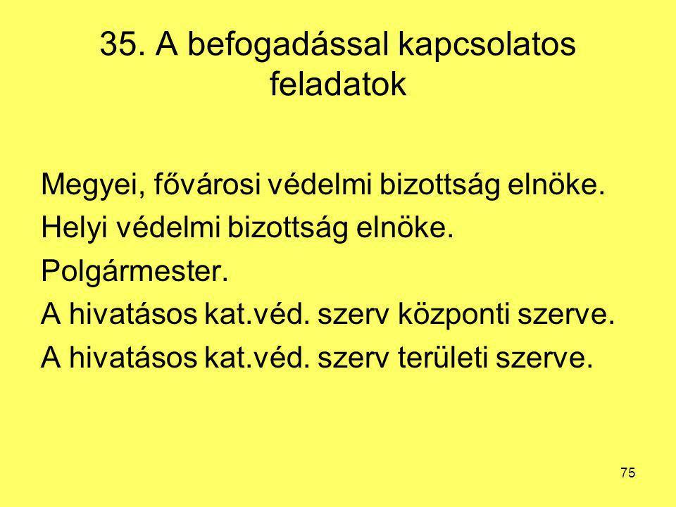 35. A befogadással kapcsolatos feladatok