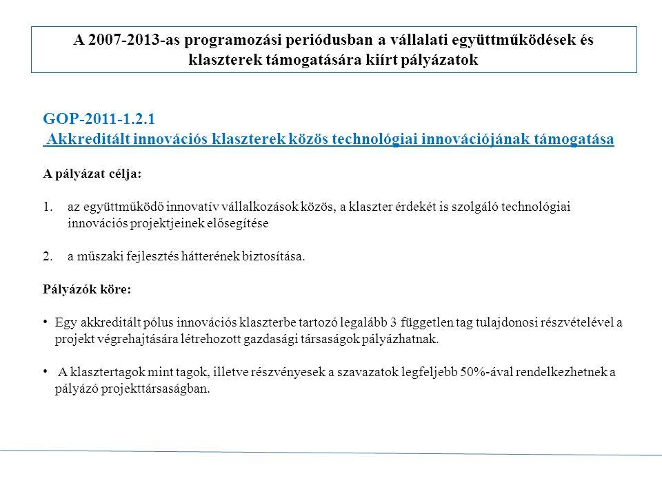 A 2007-2013-as programozási periódusban a vállalati együttműködések és klaszterek támogatására kiírt pályázatok