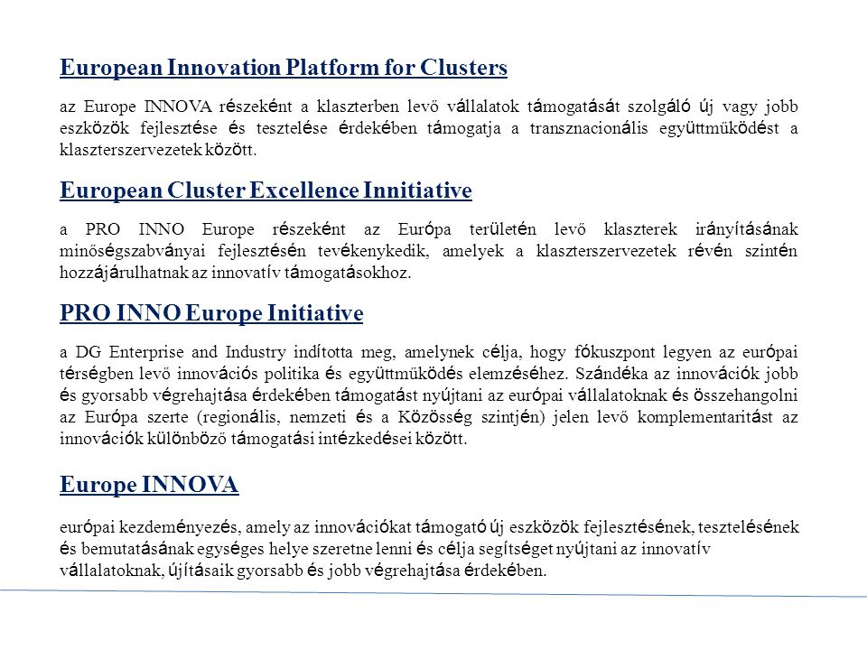 European Innovation Platform for Clusters