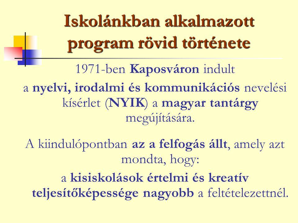 Iskolánkban alkalmazott program rövid története
