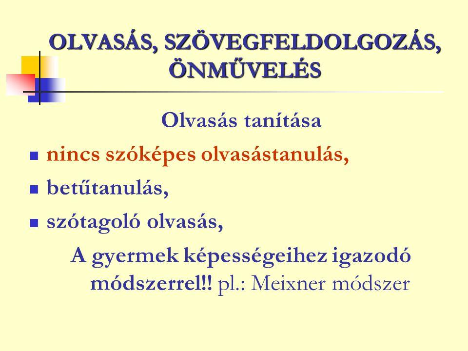 OLVASÁS, SZÖVEGFELDOLGOZÁS, ÖNMŰVELÉS