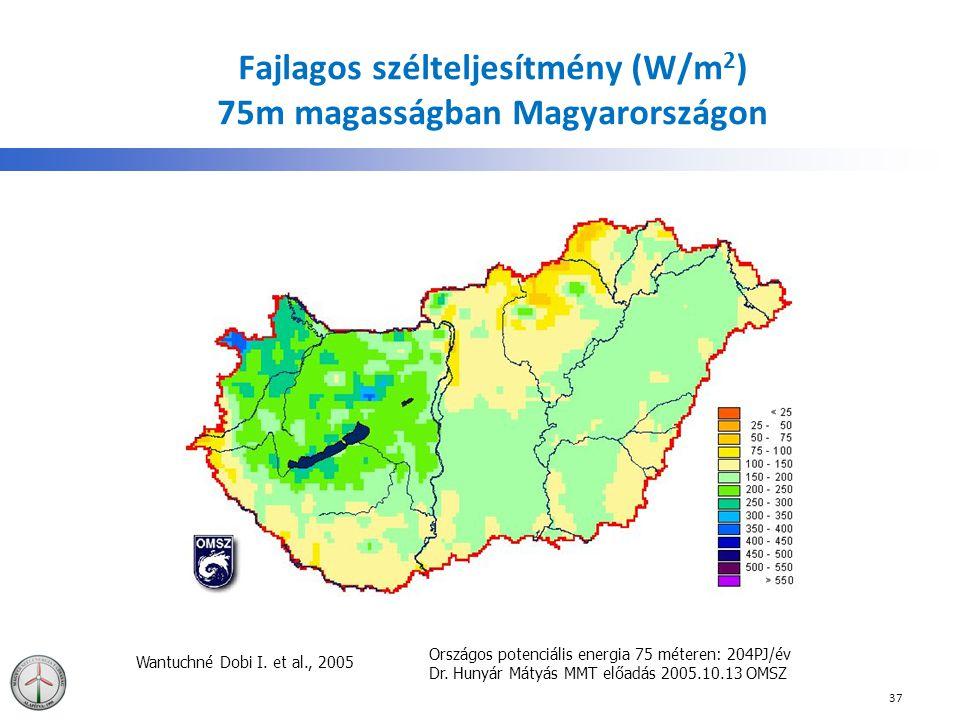 Fajlagos szélteljesítmény (W/m2) 75m magasságban Magyarországon