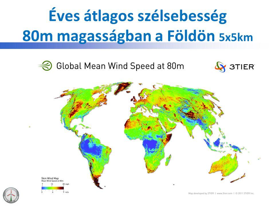 Éves átlagos szélsebesség 80m magasságban a Földön 5x5km
