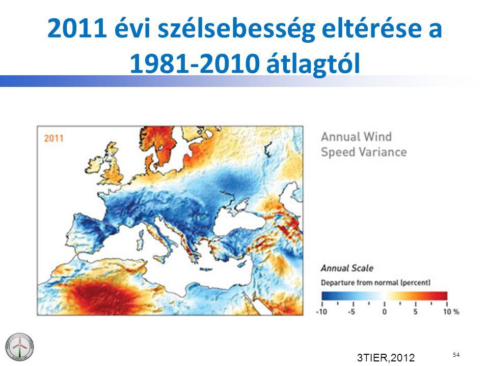 2011 évi szélsebesség eltérése a 1981-2010 átlagtól