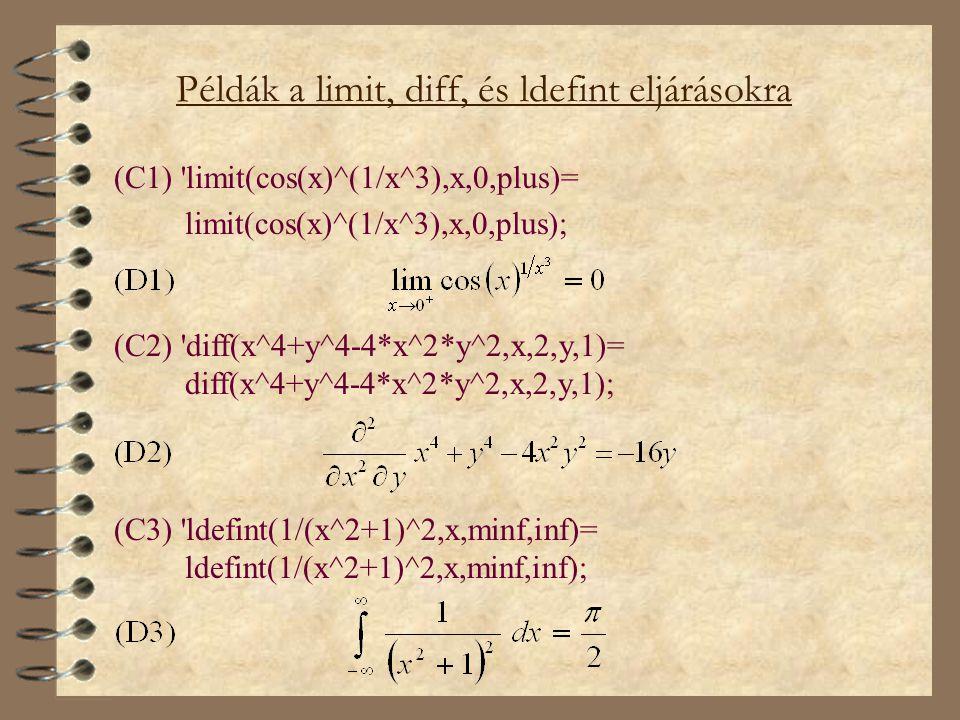Példák a limit, diff, és ldefint eljárásokra
