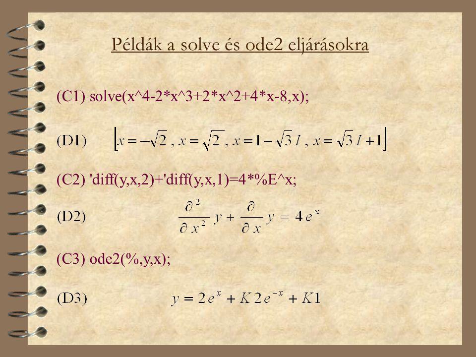 Példák a solve és ode2 eljárásokra