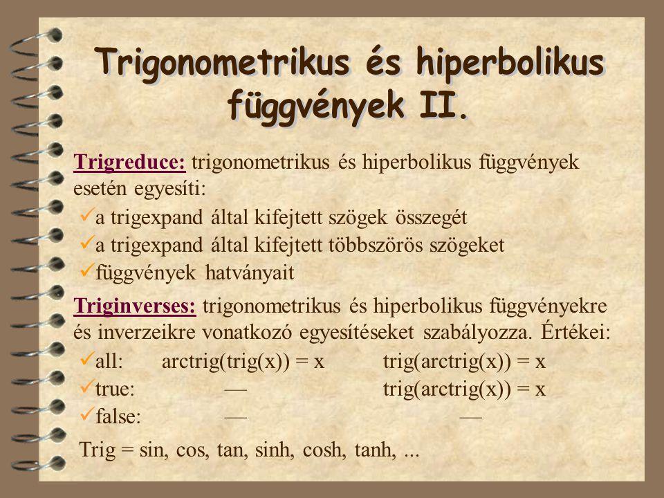 Trigonometrikus és hiperbolikus