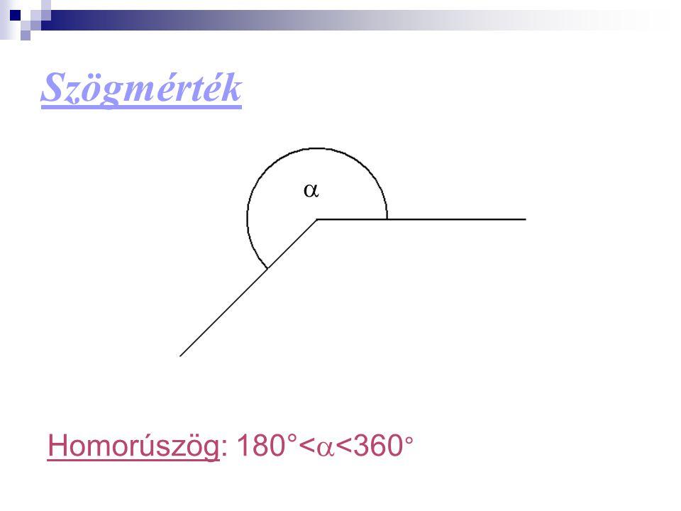 Szögmérték a Homorúszög: 180°<a<360°