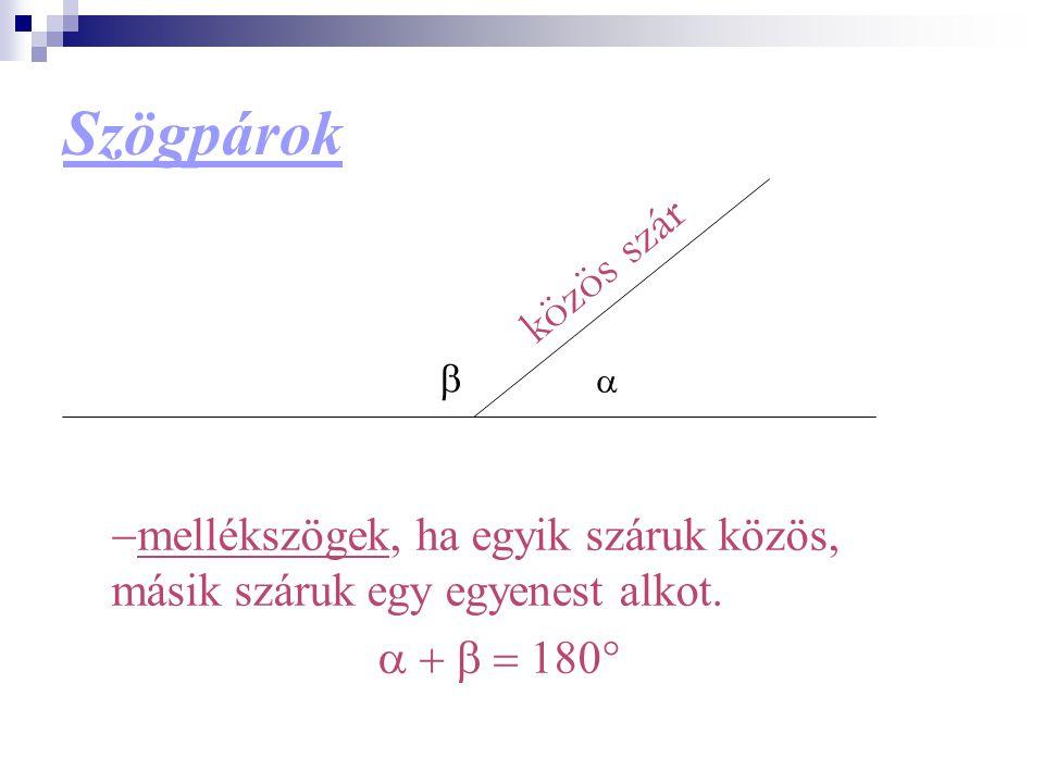 Szögpárok közös szár. b. a. -mellékszögek, ha egyik száruk közös, másik száruk egy egyenest alkot.