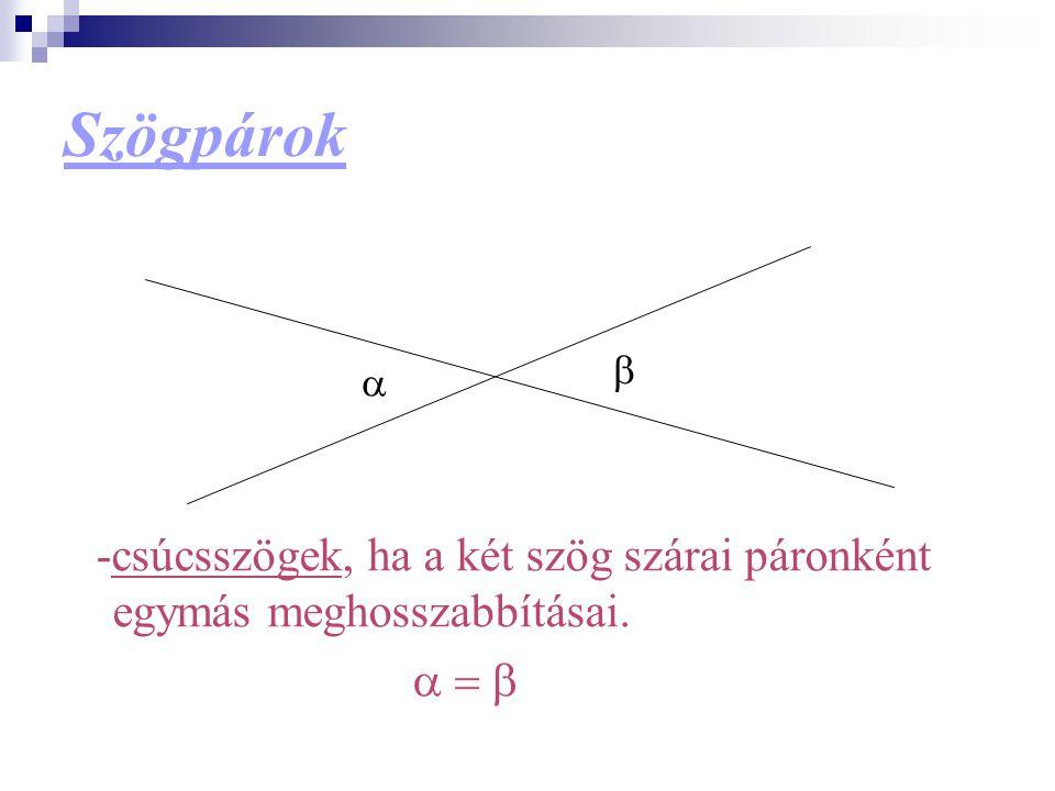 Szögpárok b a -csúcsszögek, ha a két szög szárai páronként egymás meghosszabbításai. a = b