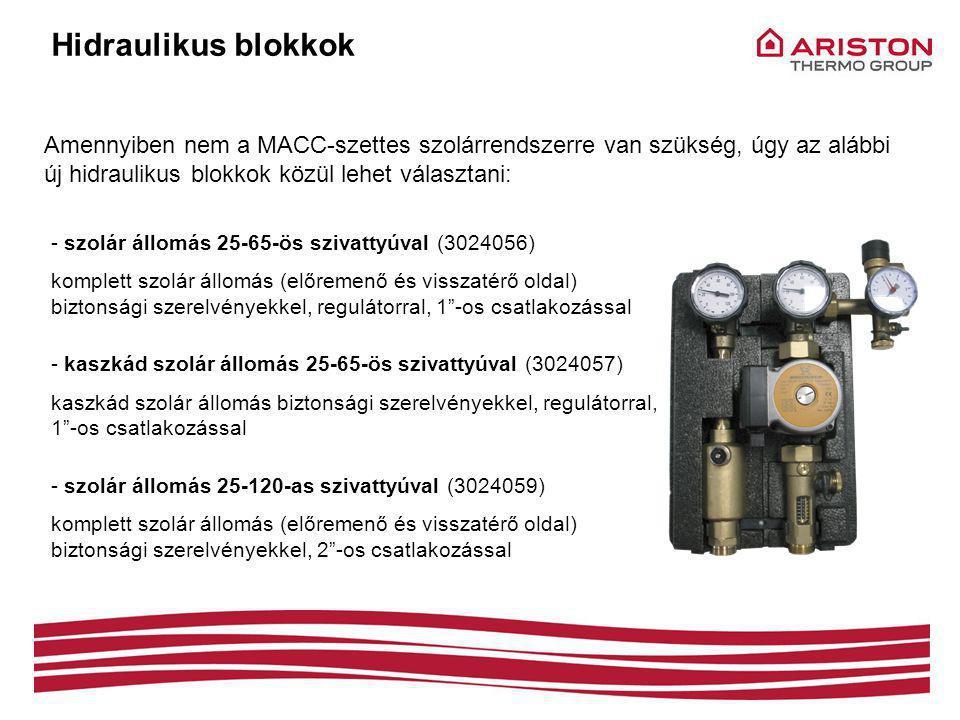 Hidraulikus blokkok Amennyiben nem a MACC-szettes szolárrendszerre van szükség, úgy az alábbi új hidraulikus blokkok közül lehet választani: