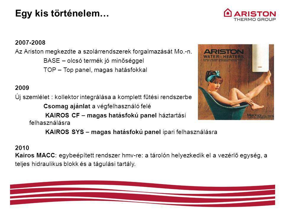 Egy kis történelem… 2007-2008. Az Ariston megkezdte a szolárrendszerek forgalmazását Mo.-n. BASE – olcsó termék jó minőséggel.
