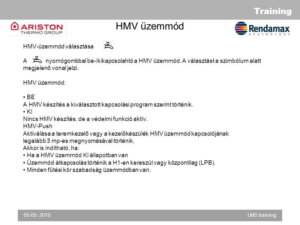 HMV üzemmód HMV-üzemmód választása