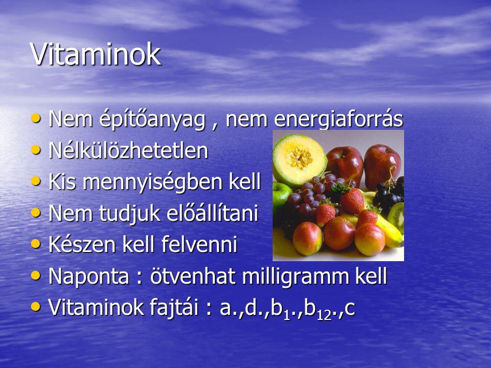 Vitaminok Nem építőanyag , nem energiaforrás Nélkülözhetetlen