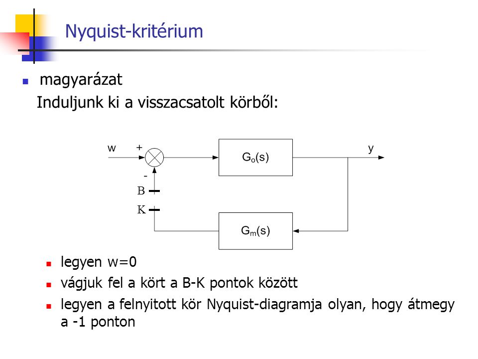Nyquist-kritérium magyarázat Induljunk ki a visszacsatolt körből: