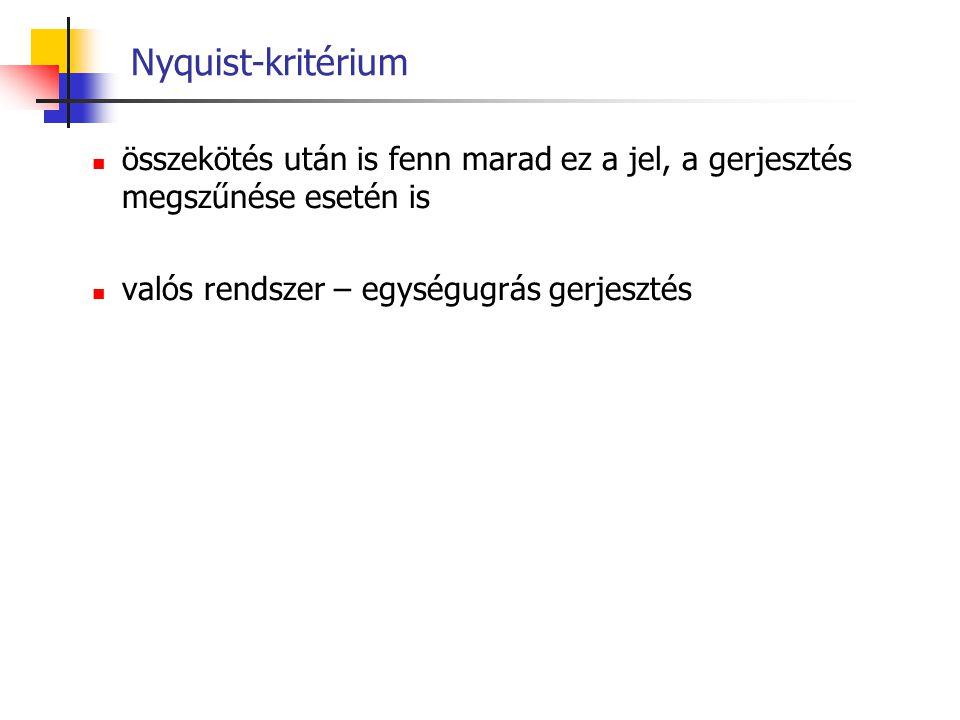 Nyquist-kritérium összekötés után is fenn marad ez a jel, a gerjesztés megszűnése esetén is.